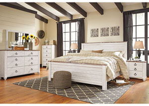 Willowton Whitewash California King Panel Bed w/Dresser, Mirror, Drawer Chest & Nightstand