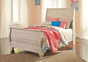 Willowton Whitewash Full Sleigh Bed