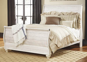Willowton Whitewash Queen Sleigh Bed,Signature Design By Ashley