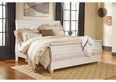 Willowton Whitewash King Sleigh Bed