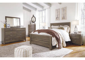 Birmington Brown Queen Panel Bed w/Dresser, Mirror, Drawer Chest & Nightstand