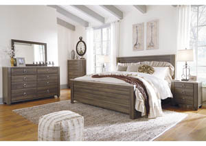 Birmington Brown California King Panel Bed w/Dresser, Mirror, Drawer Chest and Nightstand