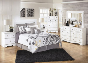 Weeki Queen/Full Panel Headboard w/Dresser, Mirror & Nightstand