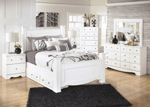 Weeki Queen Poster Storage Bed w/Dresser, Mirror & Drawer Chest