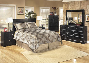 Shay Queen/Full Panel Headboard w/Dresser, Mirror, Drawer Chest & Nightstand