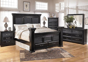 Cavallino Queen Mansion Bed w/Storage, Dresser, Mirror & Drawer Chest