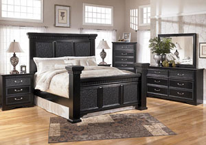 Cavallino King Mansion Bed, Dresser, Mirror, Chest & Three Drawer Night Stand