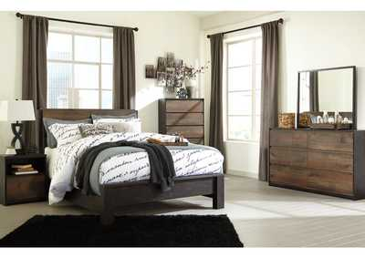 Windlore Dark Brown Queen Panel Bed w/Dresser, Mirror, Nightstand