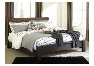 Windlore Dark Brown King Panel Bed
