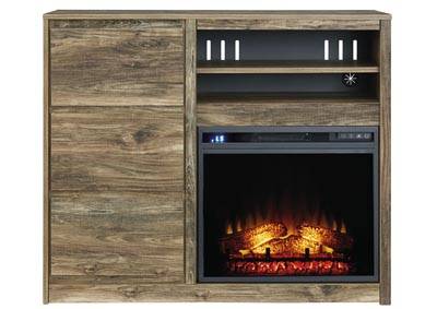 Rusthaven Brown Media Chest w/Fireplace Insert Glass/Stone,Signature Design By Ashley