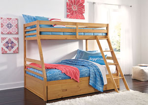 Hallytown Light Brown Twin/Full Bunkbed w/Storage