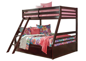 Halanton Dark Brown Twin/Full Storage Bunk Bed