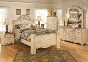 Saveaha Queen Poster Bed w/Dresser, Mirror & Drawer Chest
