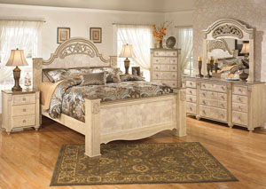 Saveaha King Poster Bed w/Dresser, Mirror & Drawer Chest