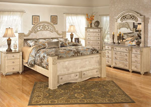 Saveaha King Poster Storage Bed, Dresser, Mirror, Chest & 3 Drawer Night Stand,Signature Design by Ashley