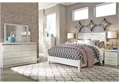 Dreamur Champagne Queen Panel Bed w/Dresser, Mirror & Drawer Chest