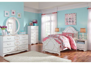 Korabella White Twin Panel Bed w/Dresser & Mirror