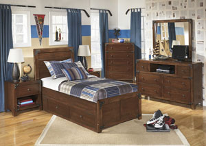 Delburne Full Storage Bed w/Dresser, Mirror, Chest & Nightstand