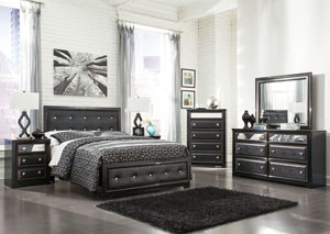Alamadyre Queen Upholstered Panel Bed w/Dresser, Mirror & Nightstand