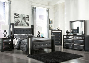 Alamadyre Queen Upholstered Poster Bed w/Dresser, Mirror & Drawer Chest