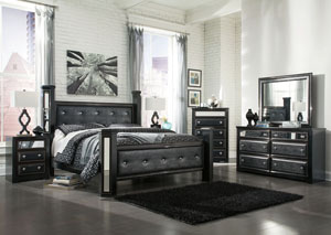 Alamadyre King Upholstered Poster Bed w/Dresser, Mirror, Drawer Chest & Nightstand