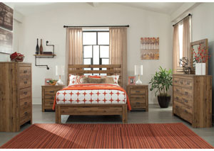 Cinrey Medium Brown Queen Panel Bed w/Dresser & Mirror