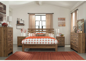 Cinrey Medium Brown King Panel Bed w/Dresser & Mirror
