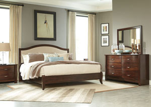 Corraya Medium Brown King Upholstered Panel Bed
