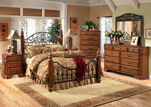 Wyatt King Poster Bed w/Dresser, Mirror, Drawer Chest & Nightstand