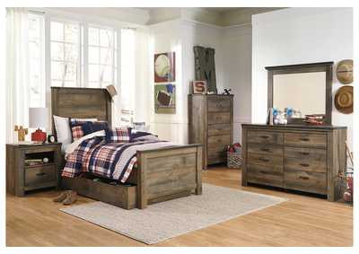 Trinell Brown Twin Panel Storage Bed w/Dresser, Mirror, Drawer Chest & Nightstand