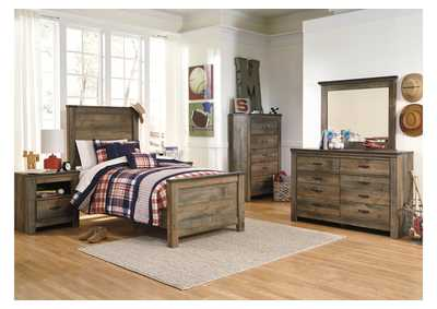 Trinell Brown Twin Panel Bed w/Dresser, Mirror, Drawer Chest & Nightstand
