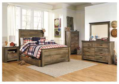 Trinell Brown Full Panel Storage Bed w/Dresser, Mirror, Drawer Chest & Nightstand