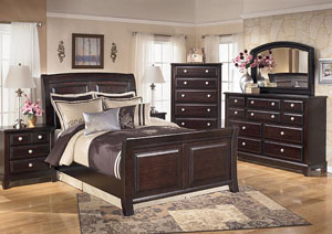 Ridgley Queen Sleigh Bed w/Dresser, Mirror, Drawer Chest & Nightstand