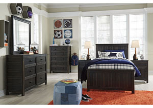 Jaysom Black Twin Panel Bed w/Dresser, Mirror and Nightstand