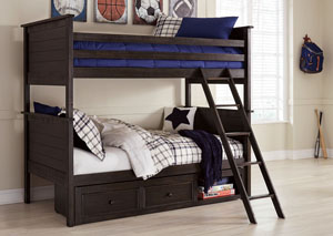 Jaysom Black Twin Bunk Bed w/Under Bed Storage