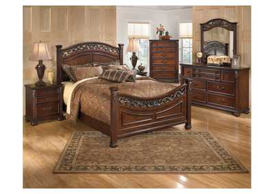 Leahlyn California King Panel Bed w/Dresser, Mirror & Drawer Chest