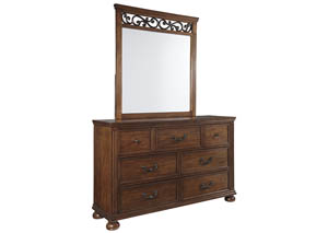 Lazzene Medium Brown Bedroom Mirror