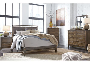 Zilmar Walnut Brown King Upholstered Bed w/Dresser, Mirror & Nightstand