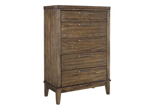 Zilmar Walnut Brown Five Drawer Chest
