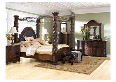 North Shore King Poster Bed w/Dresser, Mirror & Drawer Chest