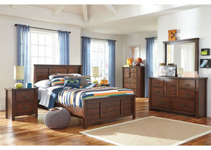 Ladiville Full Panel Bed w/Dresser, Mirror, Chest & 2 Nightstands