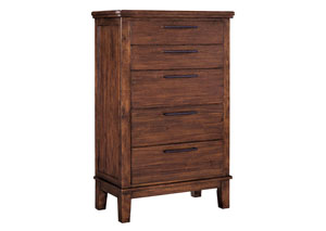 Ralene Medium Brown Five Drawer Chest