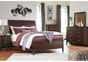 Evanburg Brown Queen Sleigh Bed w/Dresser, Mirror & Drawer Chest