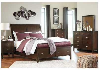 Evanburg Brown Queen Sleigh Storage Bed w/Dresser, Mirror & Drawer Chest