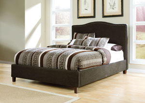 Brown California King Upholstered Bed