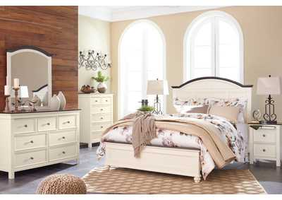 Woodanville White/Brown California King Panel Bed w/Dresser, Mirror, Drawer Chest & Nightstand