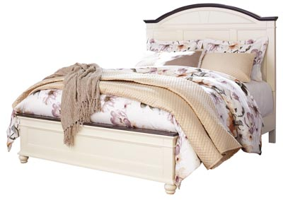 Woodanville White/Brown Queen Panel Bed