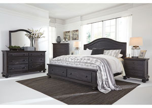 Sharlowe Charcoal King Storage Bed w/Dresser, Mirror & Drawer Chest
