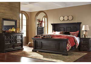Willenburg Dark Brown Queen Panel Bed w/Dresser, Mirror, Drawer Chest and Nightstand