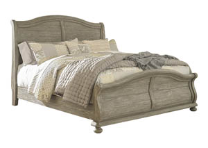 Marleny Gray/Whitewash California King Sleigh Bed